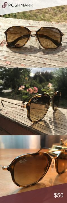 Ray Bans Selling my ray bans. Had for a few seasons and lost the case due to a few moves. Excellent condition, no scratches. Super classic brown marbled color with gold arms and nose. Completely authentic, bought from a Sunglass Hut originally. Ray-Ban Accessories Sunglasses