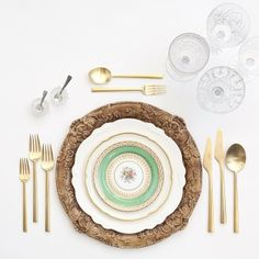 Walnut Florentine Chargers + The Botanicals Vintage China + Gold Collection…