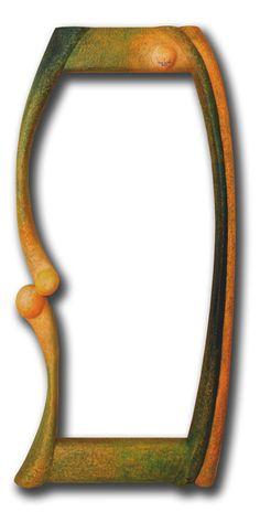 Zrcadlo Golf 2012, š: 50 x v: 80 cm, dřevo lipové, namořené, olejové barvy, vosková patina. Možnost vyrobit variantu ve tvarech i barvách.