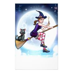 #Witch and Full Moon Halloween Scene Stationery - #halloween #party #stuff #allhalloween All Hallows' Eve All Saints' Eve #Kids & #Adaults