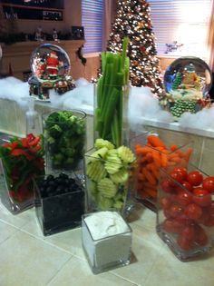 Veggies in style - love this presentation - and those vases aren't very expensive!