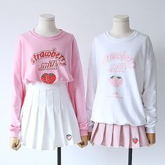 Pink/white strawberry printing fleece pullover SE10866 Use coupon code #cutekawaii for 10% off