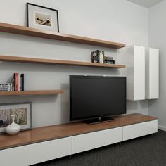 50 cool tv stand designs for your home tv stand ideas diy, tv stand ideas for living room, tv stand ideas bedroom, tv stand ideas black, tv stand ideas Floating Tv Stand Ikea, Oak Floating Shelves, Floating Cabinets, Floating Wall, Floating Tv Unit, Ikea Tv Stand, Timber Shelves, Black Shelves, Wooden Shelves