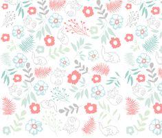Fox and Bunny Pattern fabric by raggajoy on Spoonflower - custom fabric