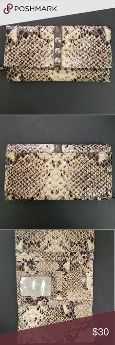 """BRIGHTON SNAKESKIN WALLET Authentic Brighton """"snakeskin"""" wallet.  In EUC  Magnetic closure, Lots of room for cards! Zip closure compartment. Brighton Bags Wallets"""