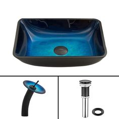 Glass Vessel Sink in Rectangular Turquoise Water with Waterfall Faucet in Matte Black