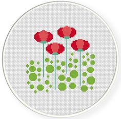 FREE Sweet Red Flowers Cross Stitch Pattern