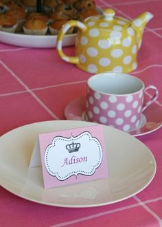 CUTE Idea for a little girls Tea Party :)...Name Cards oh yes!
