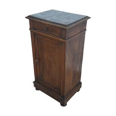 Vintage French Marble and Walnut Wood Bedside Cabinet