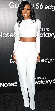 Last Night's Look: Love It or Leave It? Vote Now! | GABRIELLE UNION | in a white two-piece ensemble at a Samsung Galaxy launch event in L.A.