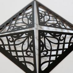 Black Filigree Square Laser Cut Wedding Invitation -