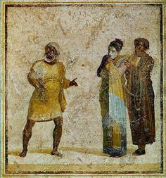 """Three actors on a stage, acting out an """"Atellan Ancient Rome, Ancient Art, Ancient History, Pompeii Italy, Pompeii And Herculaneum, Roman Man, Africa People, Black History Facts, Egyptian Art"""