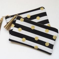 Gold clutch, black and gold clutch bridesmaids gifts by PaperFlora