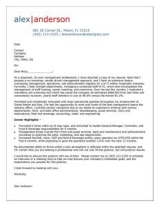 Cover Letter Example for Hospitality Manager | Cover Letter Tips ...