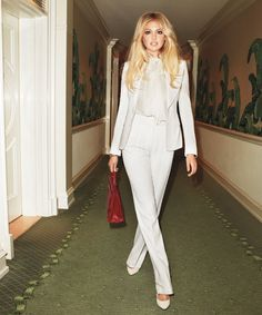 Love this!  Jacket, blouse, and pants, Tom Ford. Earrings, Tom Binns Design. Bracelet, Cartier. Bag, Hermès. Shoes, Emilio Pucci.        Read more: Kate Upton Photos by Terry Richardson - Kate Upton Fashion Shoot - Harper's BAZAAR
