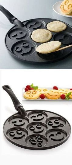 The Smiley Face Pancake Pan is a great addition to any moms kitchen who likes to be unique and different with morning breakfasts! Each face is different always making your kids wonder what kind of face they will be eating today. The pancake recipe that comes with it is super delicious but you want you're more than welcome to use your own!