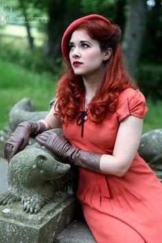 Velma Von BonBon modern vintage wearer red dress beret hat gloves 30s 40s styles