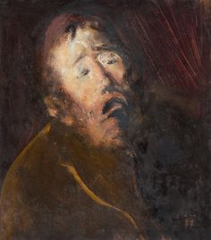 Fear, a study, oil on cardboard, by Corneliu Baba (1906 - 1997), a Romanian painter, primarily a portraitist, but also known as a genre painter & an illustrator of books. There is an inherent agony portrayed in many of his works.