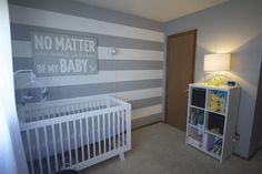 Project Nursery - Modern Clean Boy Nursery Striped Walls