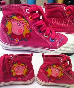 Hand painted canvas children's shoes - Peppa Pig themed