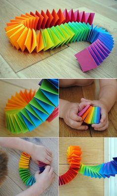 How to make a rainbow folded paper garland - a fun kids craft activity for St Patrick's Day! (How To Make Christmas Garland) Diy And Crafts Sewing, Fun Crafts For Kids, Craft Activities For Kids, Art For Kids, Easy Crafts, Arts And Crafts, Paper Crafts Kids, Kids Fun, Paper Folding Crafts