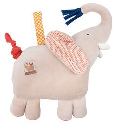 Musical elephant doll in taupe terry velvet and made of printed cottons with a ribbon used to attach it to a cot or pushchair and lull baby to sleep. Music activated by pulling on the tail. Toddler Toys, Kids Toys, Musical Toys, Bath Toys, Baby Games, Baby Kind, Baby Sleep, Mini, Musicals