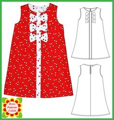 Adele Sewing Pattern for Children + Free Mother-Daughter Apron Pattern, Girls Dress Patterns, pdf, Digital Pattern, Tutorial Childrens Sewing Patterns, Sewing Ideas, Sewing Projects, Ankara Styles For Kids, Shift Dress Pattern, Girl Dress Patterns, Baby Dress, Kids Outfits, Girl Fashion