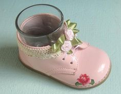 Shabby Chic Pink Baby Shoe Holder