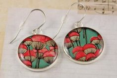 Round She Goes - Market Place - New women's resin silver drop earrings, pink poppy floral art print (handmade, handcrafted, surgical steel hooks, round dangle)