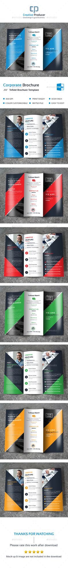 Buy Corporate Tri-fold Brochure by Creative-Producer on GraphicRiver.Easy Customizable and Editable .Brochure design with bleed setings. Indesign Brochure Templates, Advertising Tools, Graphic Design Brochure, Shelves In Bedroom, Tri Fold, Corporate Design, Business Brochure, Editorial Design, Psd Download