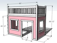 I want to make this!  DIY Furniture Plan from Ana-White.com  Building a playhouse bed is easier than you think with this straight forward plan. It's a big project, it's going to take patience and persevering, but as so many of our readers have discovered, well worth the hard work! Special thanks to Kimberly for sharing her amazing photos of Princess Katherine's bed.