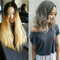 Charcoal Brown, Beige Ash Blonde balayage ombre - Stylish Medium Hairstyle