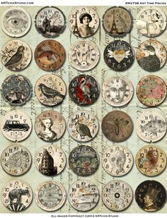 clock faces Art Time Pieces ~ I love this website; they have such cool and different items. Vintage Images, Vintage Art, Vintage Style, Illustrations Vintage, Paper Art, Paper Crafts, Image Digital, Creation Deco, Collage Sheet