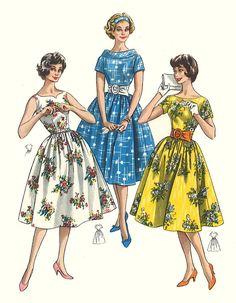 1950's Vintage Sewing Pattern Pretty Dress Full Skirt