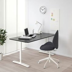 IKEA - BEKANT Corner desk-right black stained ash veneer, white Ikea Bekant Desk, Desks Ikea, Sit Stand Desk, Ikea Family, Black Desk, Under The Table, White Desks, Cable Management, Ikea Desk