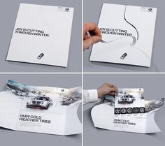 A clever die cut direct mail piece that is sure to grab attention. Recent USPS regulations allow for all sorts of unique shapes for mailers.   BMW cold weather tire direct mail