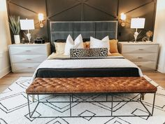 Mid century modern master bedroom with restoration hardware bed and end tables