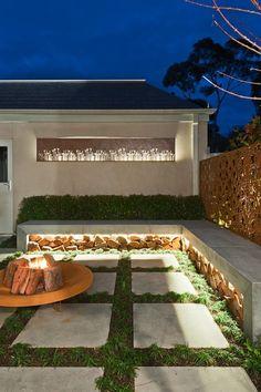 indirekte beleuchtung terrasse led leisten beton sitzbank