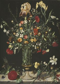 Ambrosius Bosschaert the Elder ANTWERP 1573 - 1621 THE HAGUE A STILL LIFE OF FLOWERS, INCLUDING IRISES, NARCISSI, LILY-OF-THE-VALLEY AND CARNATIONS, IN A TALL GLASS VASE SET ON A STONE LEDGE | sotheby's l14036lot7p7yyen