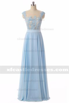 2018 A Line Chiffon Lace Long Prom Dresses Prom Dresses Blue, Formal Dresses, Chiffon Skirt, Lace Overlay, Cap Sleeves, Bodice, Elegant, Skirts, Color