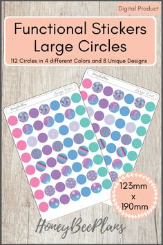 112 Functional Circles stickers in 4 colors, Pink, Blue, Green and Purple and 8 Unique Designs. This sticker kit is designed for planning in your planner. Printable downloadable file allows you to print and cut either by hand or with a cutting machine of your choice. Printable Planner Stickers, Printables, Green And Purple, Pink Blue, Print And Cut, Different Colors, Circles, Dots, How To Plan