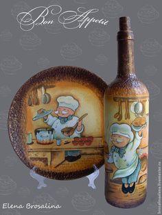 """Happy Chef"". Handmade. Wine Bottle Art, Bottle Vase, Wine Bottle Crafts, Bottles And Jars, Decorated Wine Glasses, Hand Painted Wine Glasses, Bottle Painting, Diy Painting, Decoupage Glass"