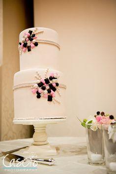 Pink, Beige and Black Wedding Cake
