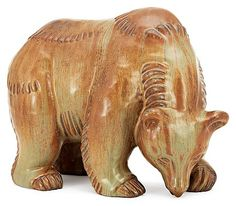 A Gunnar Nylund stoneware figure of a bear, Rörstrand. (d)  Height 23 cm, length 28 cm.