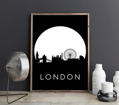 London Print London Poster City Poster Skyline Print
