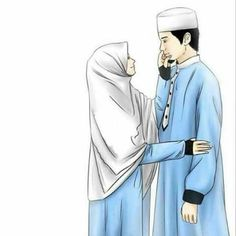 Love Cartoon Couple, Cute Couple Art, Anime Love Couple, Girl Cartoon, Cute Muslim Couples, Muslim Girls, Cute Couples, Cover Wattpad, Muslim Pictures