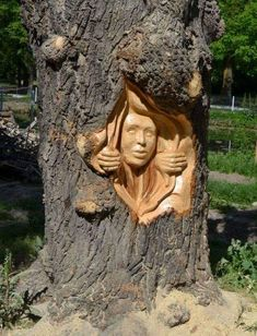 Romanian Artist Uses A Chainsaw To Turn Trees Into Sculptures, And The Result Is Impressive Gabi Rizea is a artist from Romania. He creates incredible sculptures from wood and is well known in his country. Wood Carving Faces, Wood Carving Designs, Tree Carving, Wood Carving Patterns, Wood Carving Art, Art Sculpture En Bois, Driftwood Sculpture, Sculpture Clay, Art Et Nature