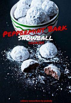 Peppermint Bark Snowball Cookies
