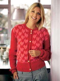 Strikket cardigan med hjerter Alter, Sweaters, Cardigans, Knitting, How To Wear, Fashion, Threading, Moda, Tricot