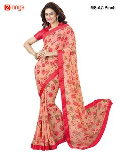 Women's Attractive Light Peach Color Georgette Saree #Sarees #Fashion #Offers #Holi #Festival #New #trend #Amazing #Look #New #Zinngafashion #Discount